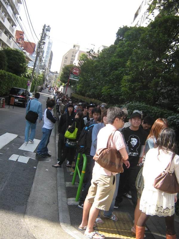 Line continues around corner.