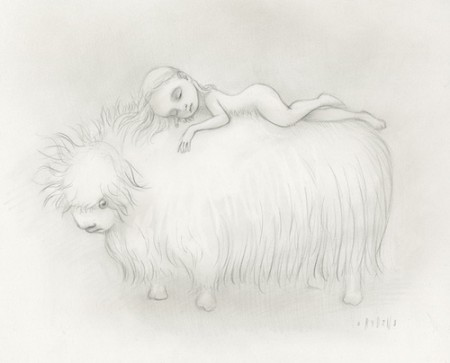 Girl sleeps on yak
