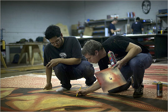 Shepard w/assistant Philip Lumbang prepping for the ICA  via Boston Globe