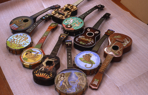 Hand-painted vintage ukes