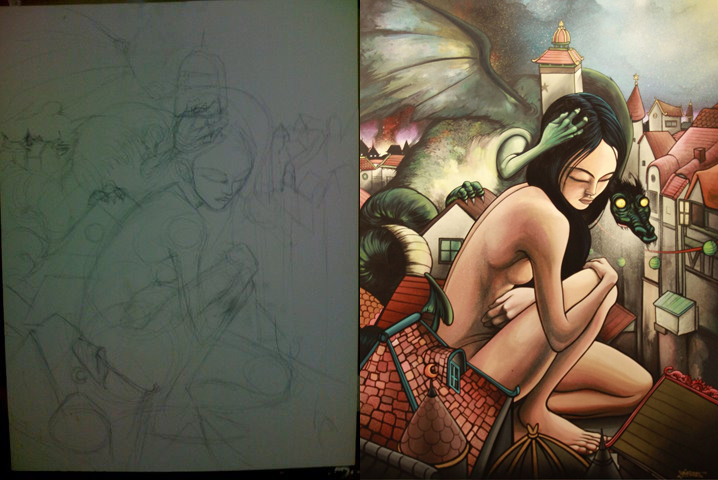 beginning sketch ---> finished painting