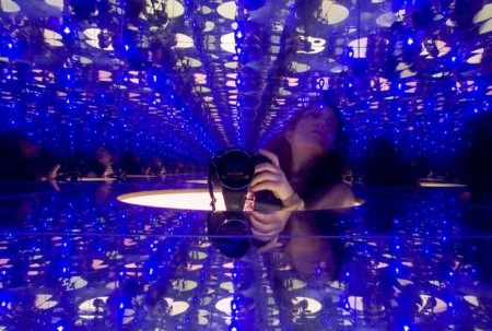 Inside the head installation - mirrored plexi to give the infinity feel