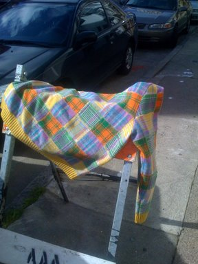 inspiration for the scales, from an old cosby sweater on the street.