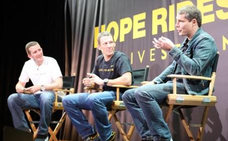 Doug Ulman, Lance Armstrong, Shepard Fairey (L-R)