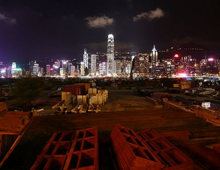 Spectacular night view from construction site of the cultural district.  Photo via Hong Kong Hustle.
