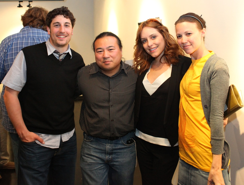 L-->R: Jason Biggs, Travis Louie, Jenny Mollen, Lola