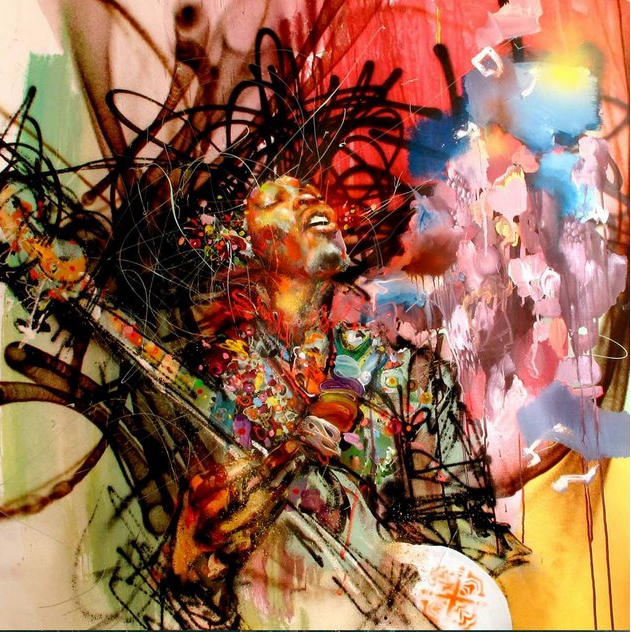 Releases david choe jimi hendrix print arrested motion for Painting for sale by artist