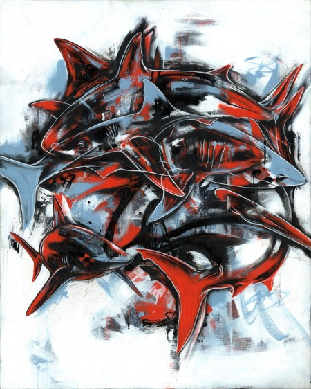 Sustain, 2009 Acrylic, Spraypaint and Ink on Canvas, 40 x 32