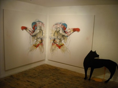 Project room diptych install with dog sculpture - all by Lister
