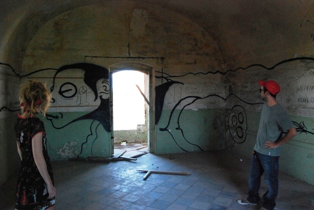 We weren't sure who did this piece, but thought it was interesting. The character extended around the walls.