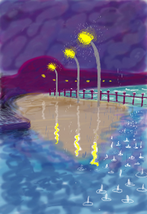 david-hockney-rainy-night-on-bridlingtom-promenade