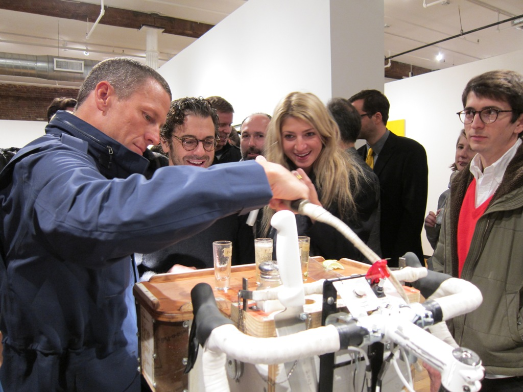 Lance & Tom Sachs taking shots against cancer... from the Tequila cycle