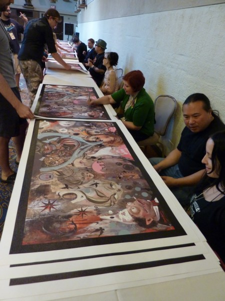 Molly Crabapple kicked off the autograph assembly line...