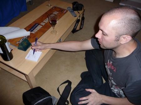 Ian practices his Japanese Kanji