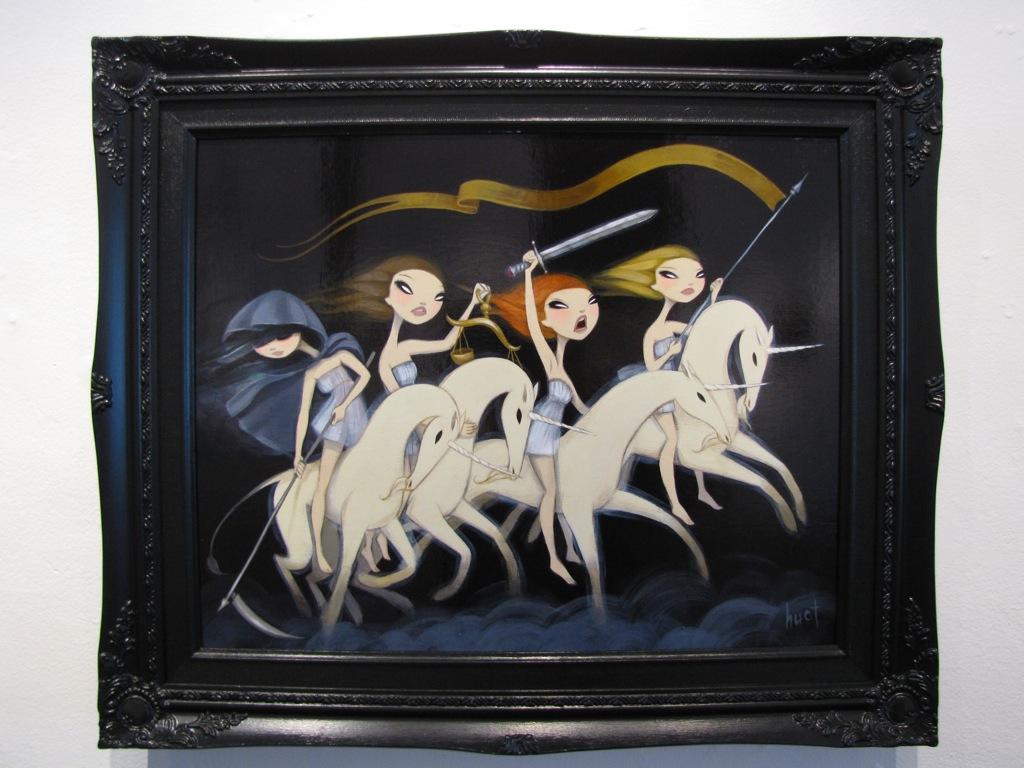 "Four Unicorns of the Apocolypse - 16"" x 20"" - Acrylic on birch"