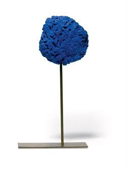 Lot 186 - Yves Klein - Eponge Bleue - dry pigment in synthetic C resin and natural sponge mounted on metal rod - 4 X 3½ X 2in (10 X 9 X 5cm) - est. £30,000 - £40,000