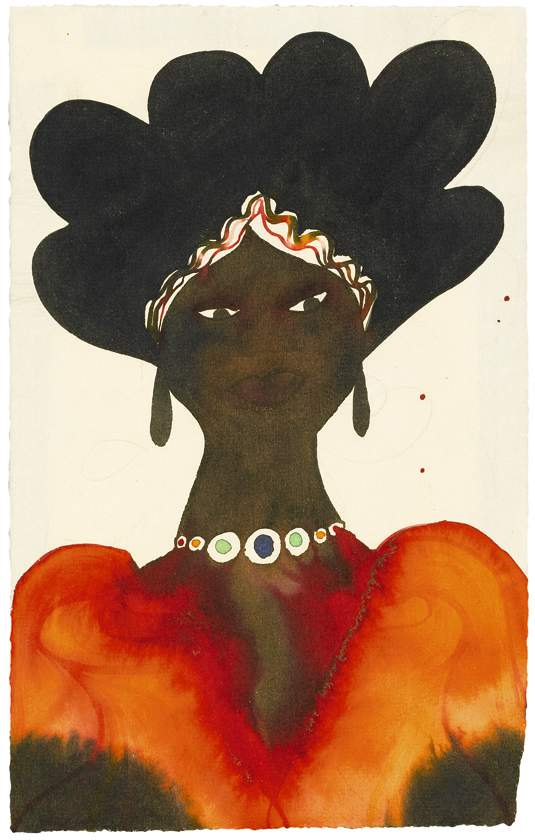 Chris Ofili, Salzau (1999), watercolour, ink and pencil on paper, 9 3/8 x 6 1/8 in (4 by 15.5cm). 3,000-4,000 GBP