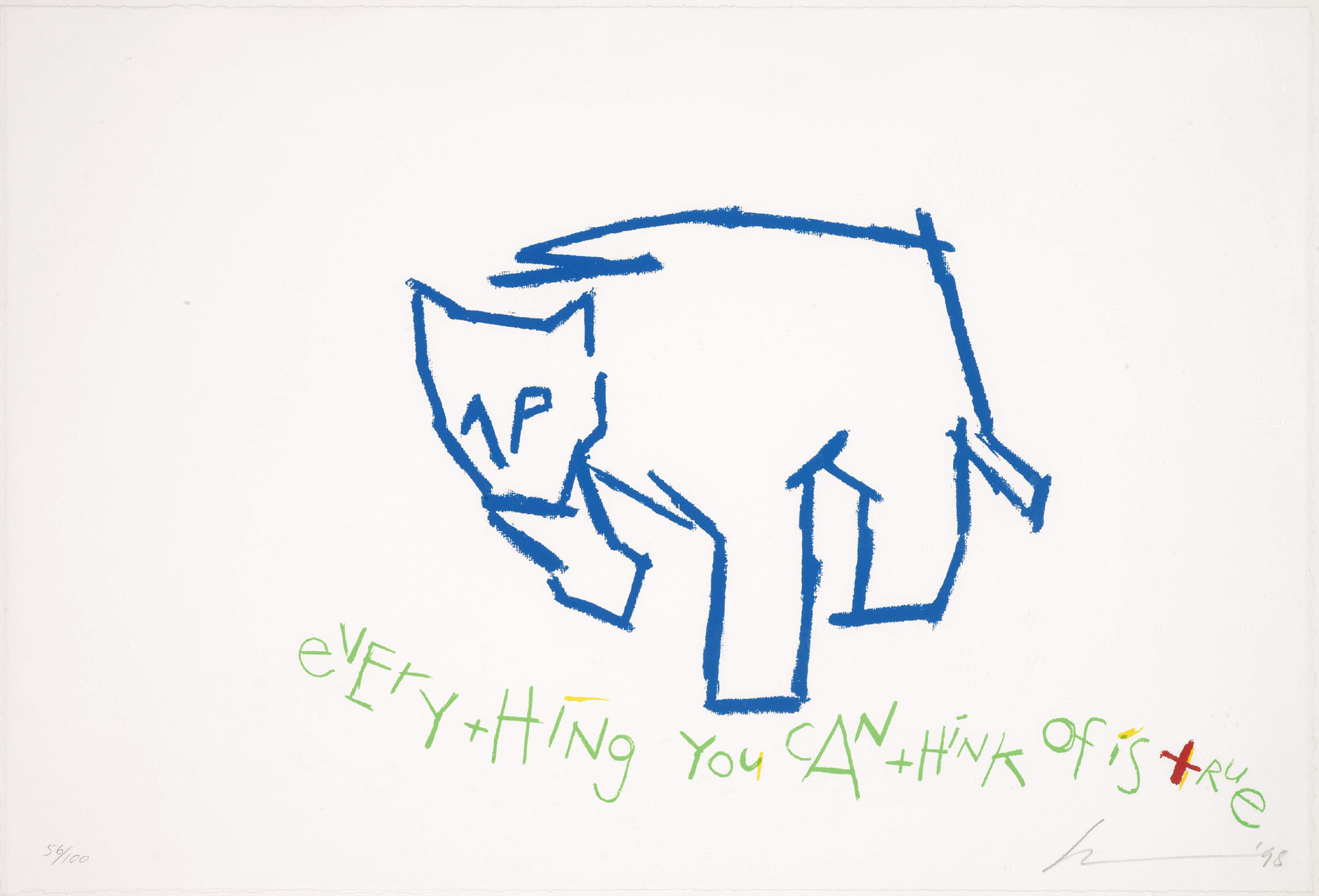 Robert Wilson, Everything You Can Think Of Is True, 15 by 22 3/8 in (8 by 57cm). Est. 300-400 GBP