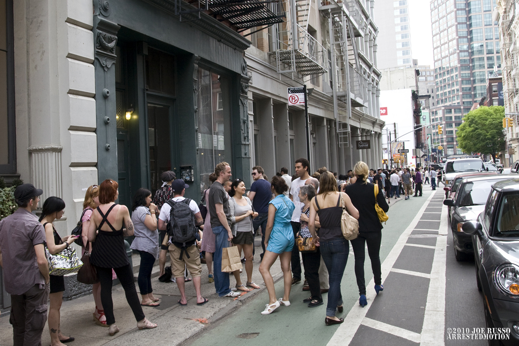 The line started for most on Grand st... if they were lucky.