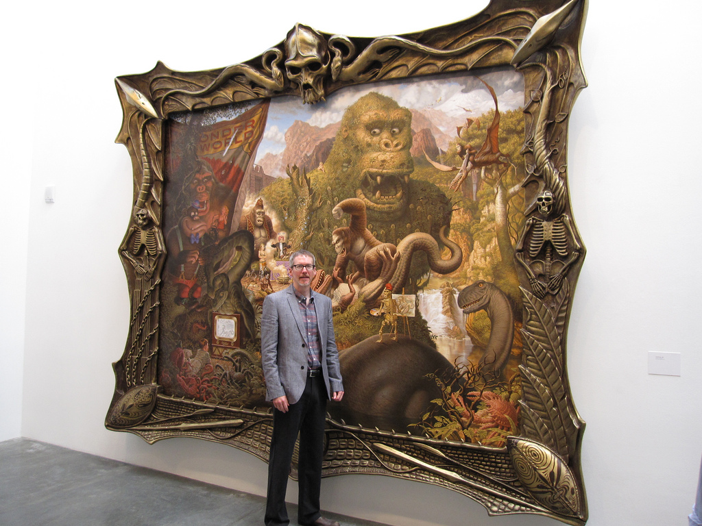 Schorr next to the famous Ape Worship painting