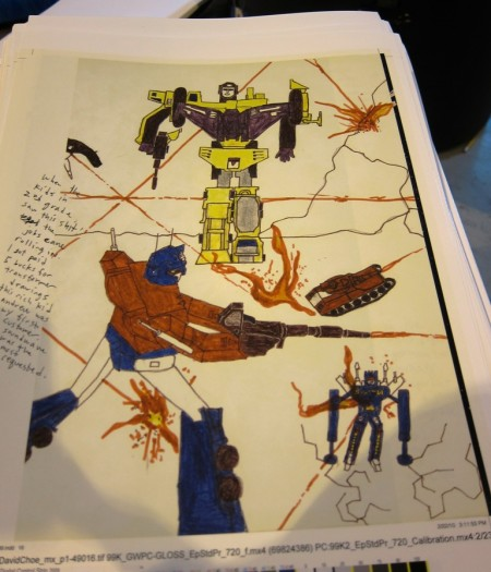 Optimus Prime, Rumble and Devastator! Much sicker than the recent movie sequel...