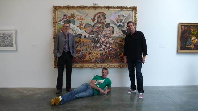 Todd Schorr with Head of Nike Global Design Sandy Bodecker, and Mark Parker