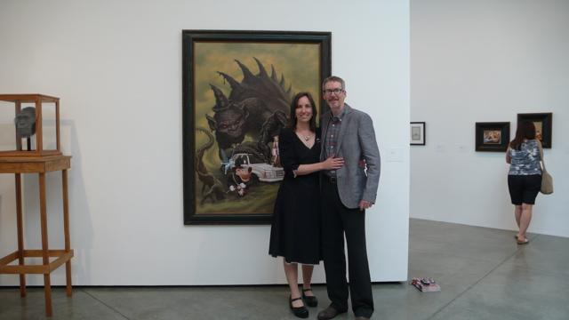 Todd Schorr with Director of Galleries and Exhibitions at Otis Ben Maltz Gallery, Meg Linton
