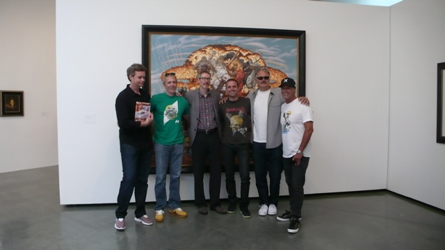 Todd Schorr with ( from left to right ) Mark Parker, Sandy Bodecker, Yours Truly, Jason Maloney, Roger Wyett ( Hurley CEO ), and surf legend Bob Hurley
