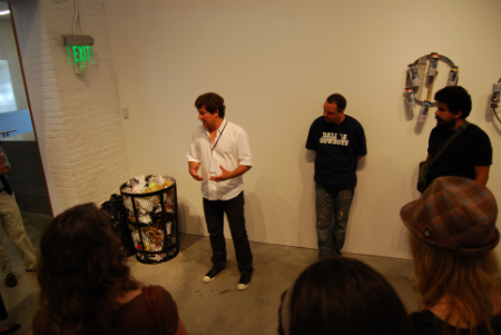 Pedro Alonzo, David Ellis and Roberto Lange talk about Ellis and Lange's new, contained Kinetic Trash Sculpture.