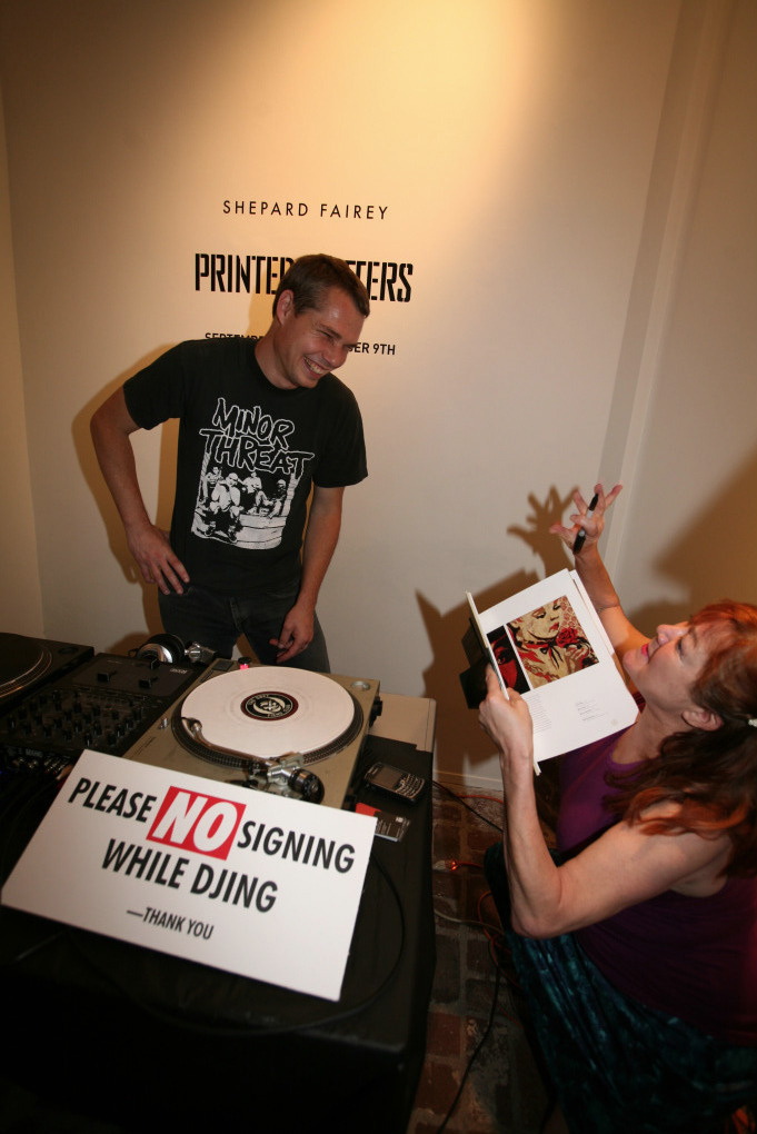 DJ Diabetic, with Patti Astor as usual ignoring the rules