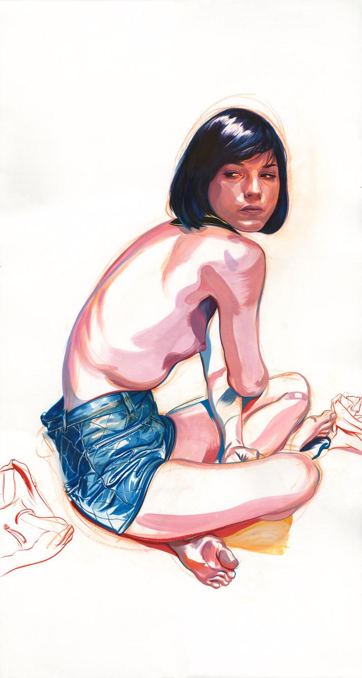 Selma Blair, Acrylic Ink and Pastel