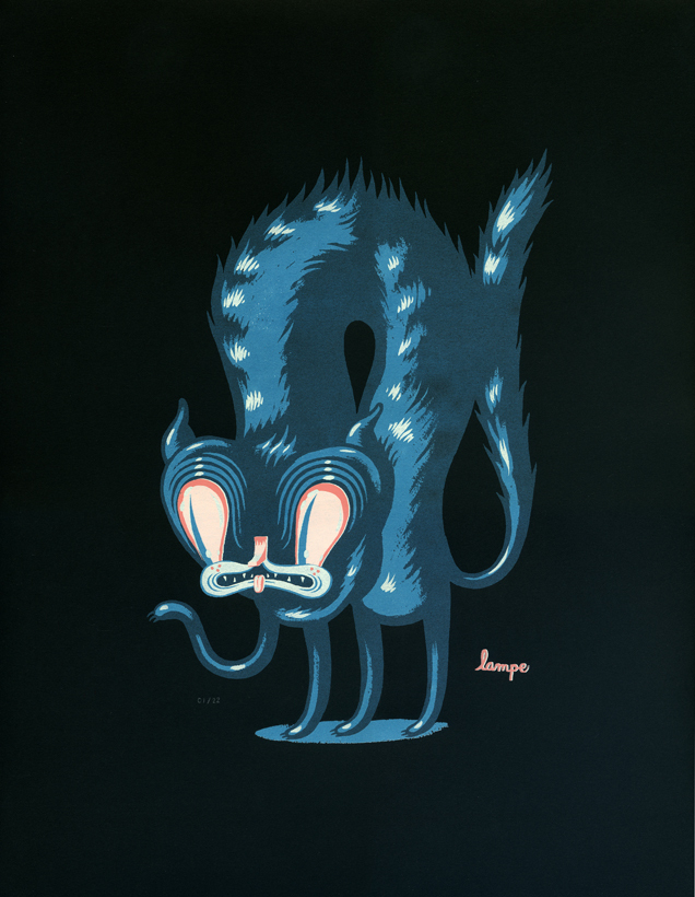Travis Lampe Cat print from www.fantasycryland.bigcartel.com
