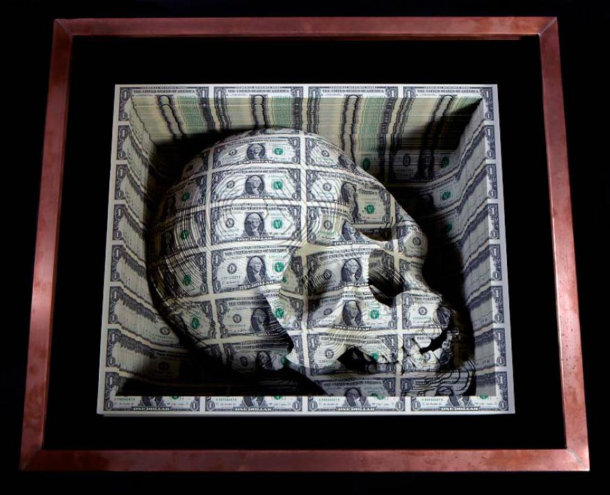 """Noblesse Oblige"", 2011, Cut uncut US currency sheets, copper box, 21 x 25 x 18.75 inches"