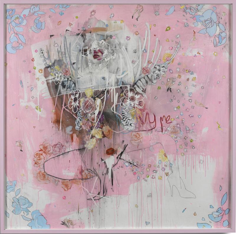 4 I Shit Diamonds, 144 x 144 cm, Oil, Acrylic, Lipstick and Paper Collage on Linen, £45,000 + VAT