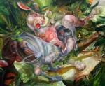 3 las liebres. oleo sobre tela 148 x 180 cm. 2010