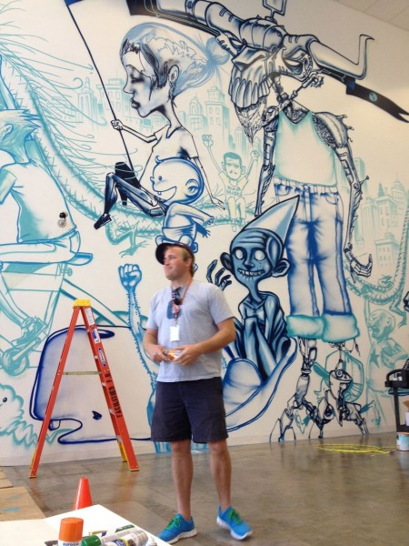 David choe paints new facebook offices arrested motion for David choe mural