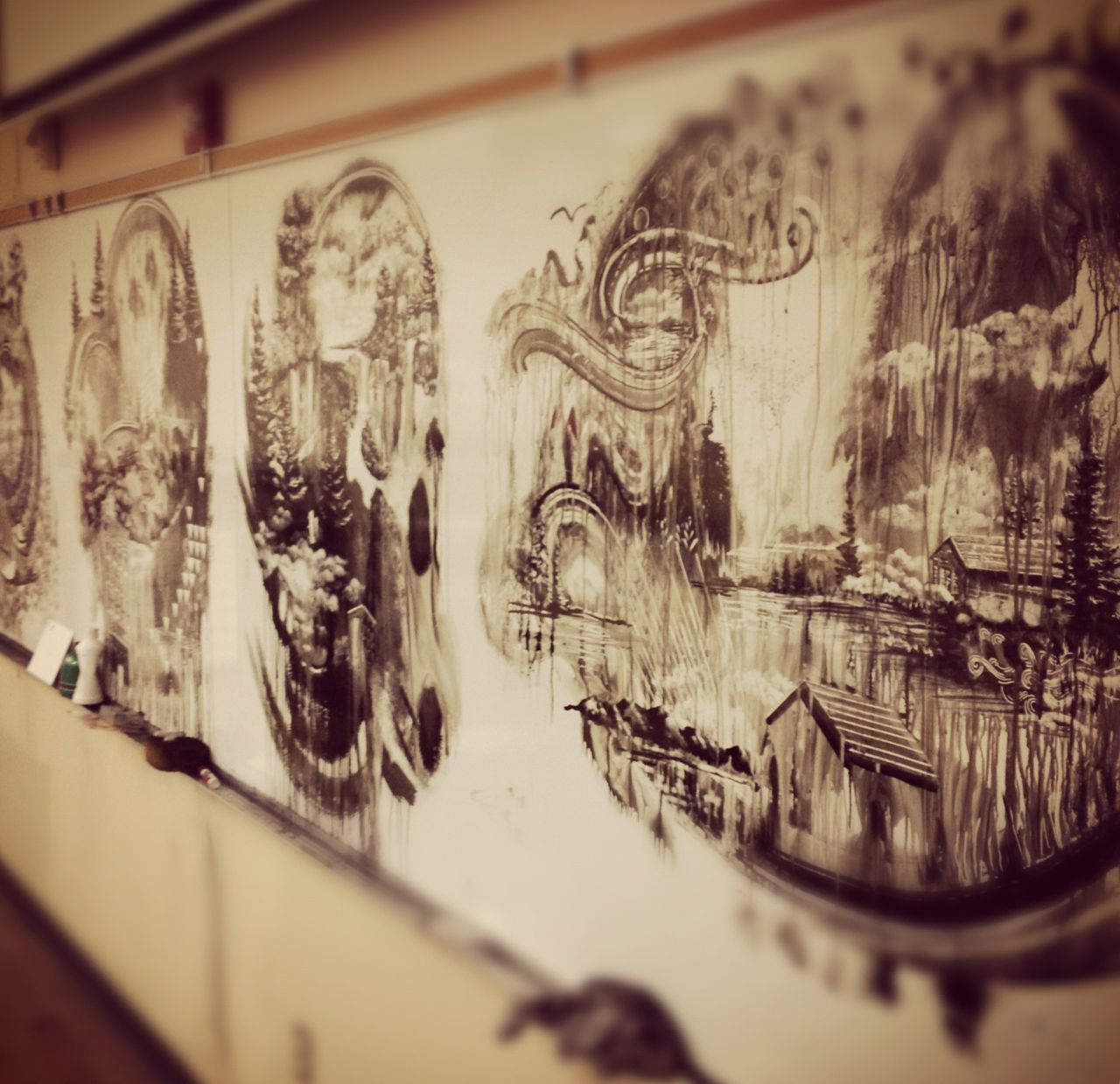 Euclide MN Classroom with Sumi ink paintings 2
