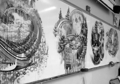 Euclide MN Classroom with Sumi ink paintings