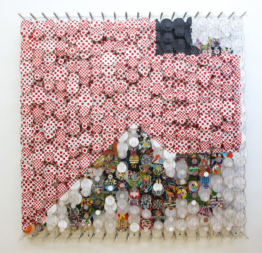 "Jacob Hashimoto - ""Near the Edge of the World"", 2012 - Acrylic on paper, nylon, thread, bamboo, wood"