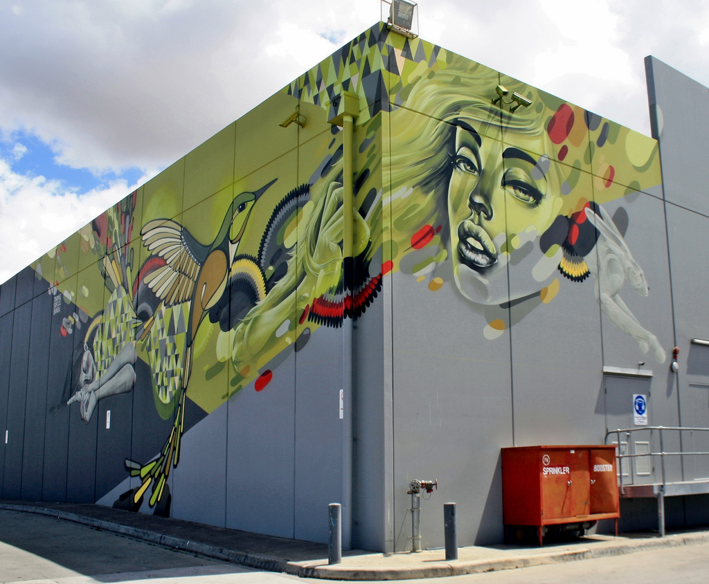 Twoone x Bonsai x Sofles in Melbourne, Australia. Photo via StreetArtNews.