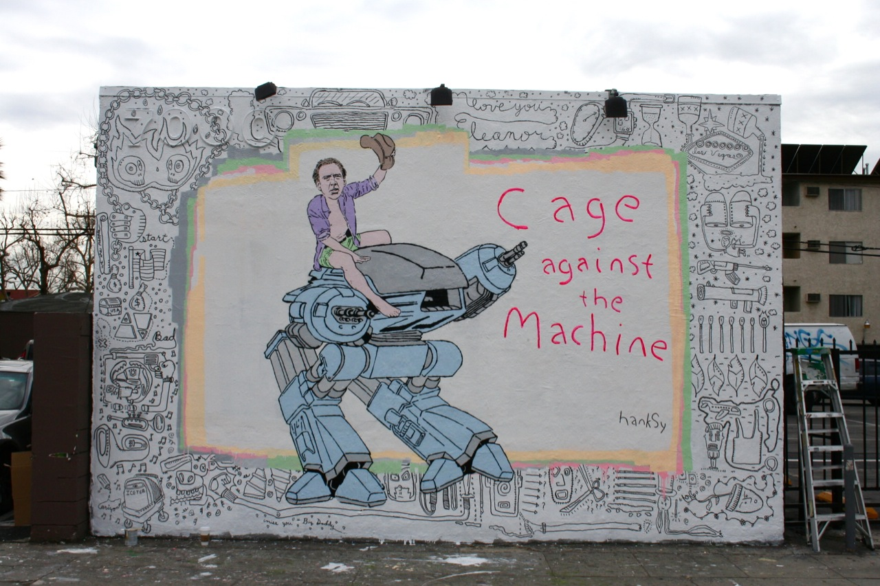 "Hanksy - ""Cage Against The Machine"" in Los Angeles."