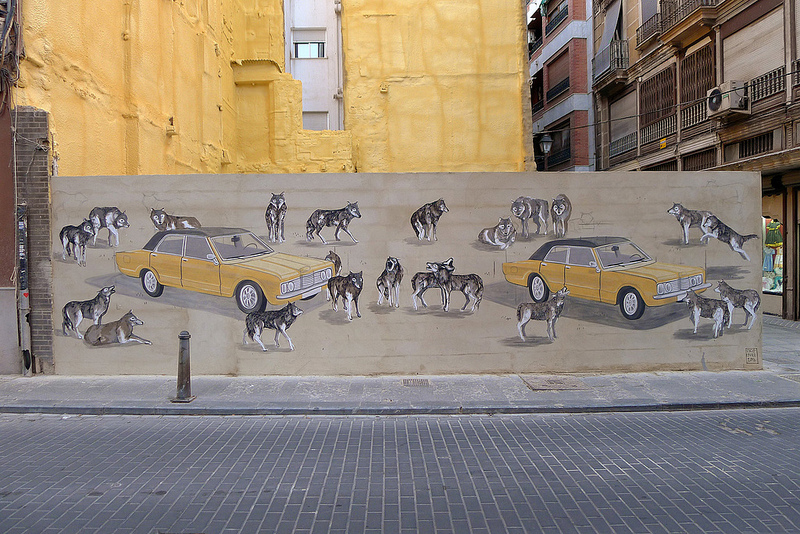 Escif and Hyuro collaboration in Valencia, Spain.
