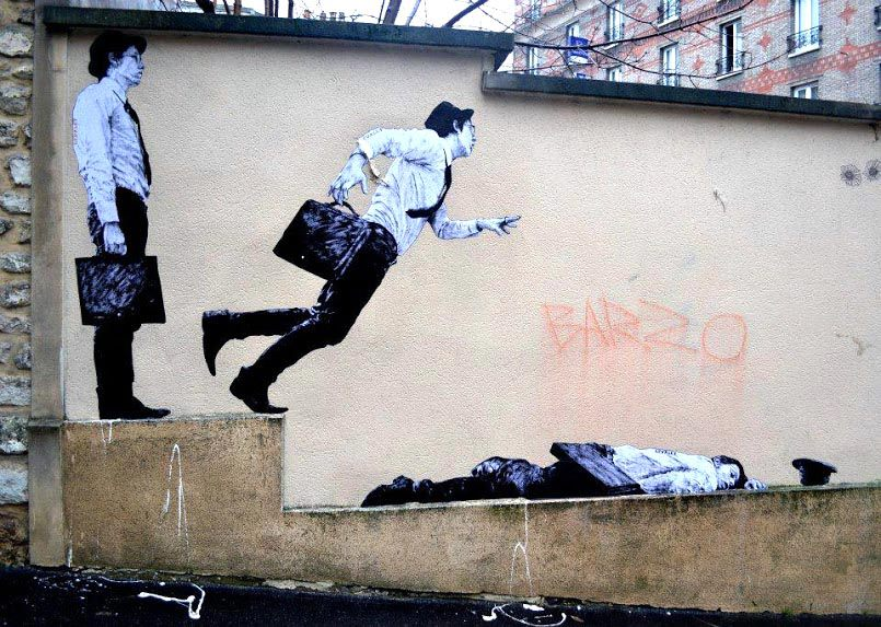 Levalet in Paris, France.  Photo via Street Art Utopia.