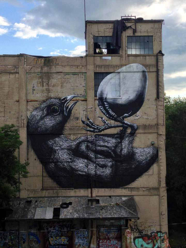 ROA for Wall Therapy in Rochester, NY. Photo via StreetArtNews.