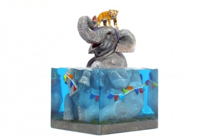 Josh Keyes Toy Qube Lifted II Sculpture AM 4