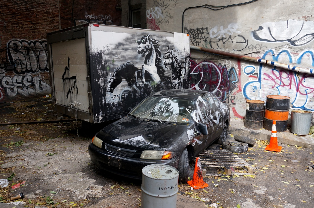 streets banksy � �better out than in� new york � day 8