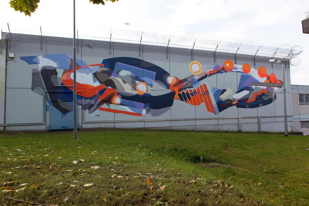 "SatOne - ""TI:ME"" in Rockenburg, Germany at a prison. Via Graffuturism."