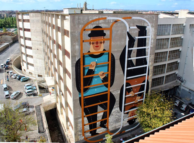"Agostino Iacurci - ""Zero Infinito"" in Rome. Organized by Wunderkammern. Photo via StreetArtNews."