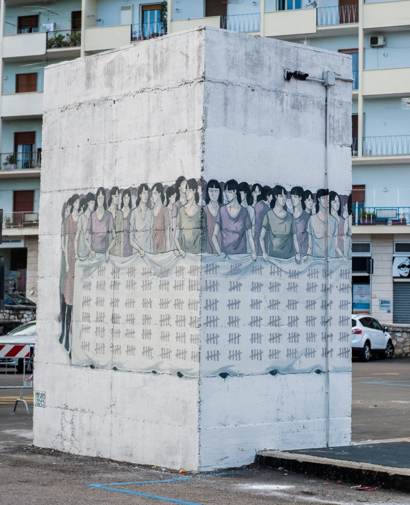 Part of Hyuro's piece in Formia, Italy for the International Day for the Elimination of Violence against Women.