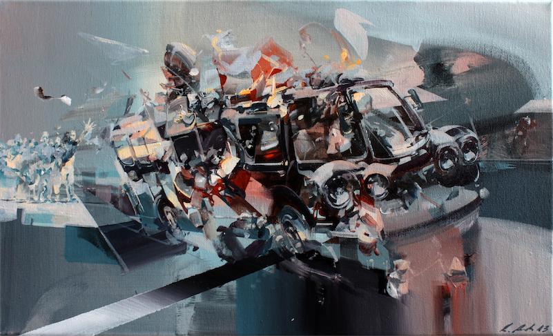 Robert Proch 'survivors' 30x50cm acrylic on canvas 2013